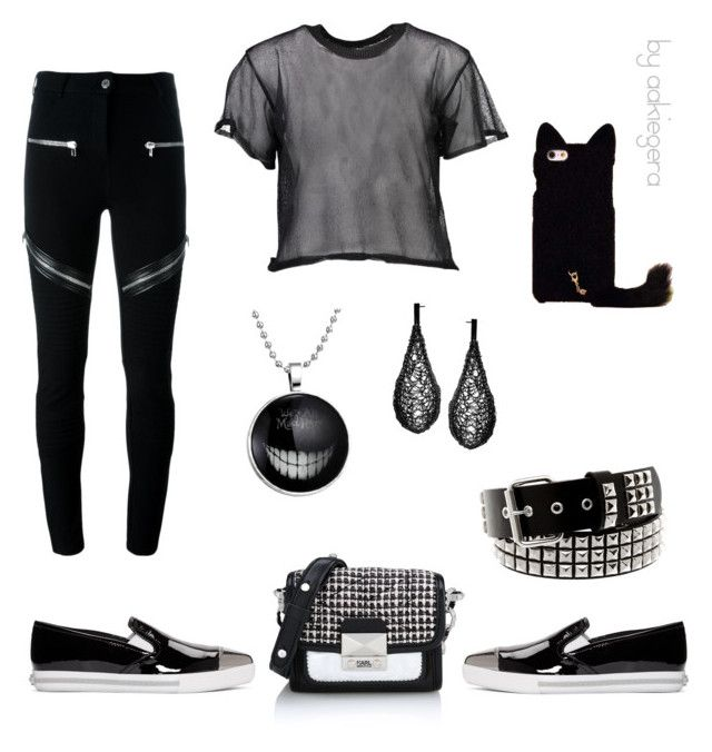 """""""All black"""" by aakiegera on Polyvore featuring мода, MM6 Maison Margiela, Karl Lagerfeld, Givenchy и Miu Miu"""