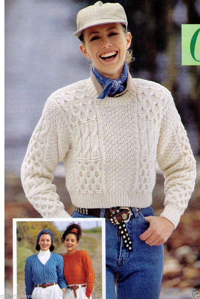 WOMEN'S ARAN CABLE WAIST LENGTH PANELS SWEATER & CARDIGAN 8PLY KNITTING PATTERN