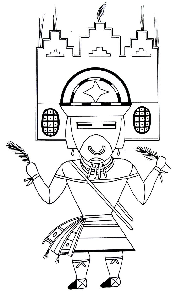 sand painting representing a kachina a messenger of the gods from the hopi indians coloring - Native American Coloring Book