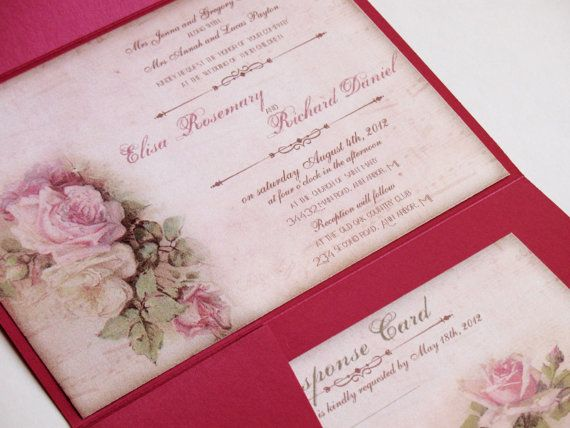 Wedding invitations Romantic Rose wedding by DesignedWithAmore, $2.00