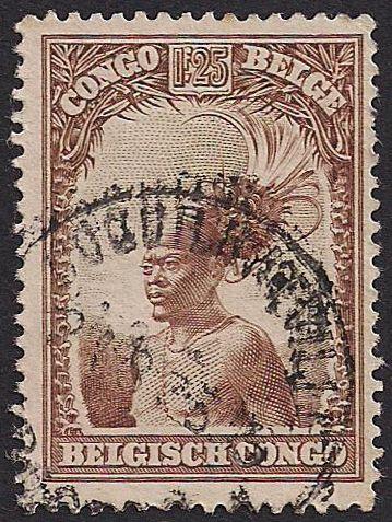 Estampilla Congo Belga - Jefe Mangbetu