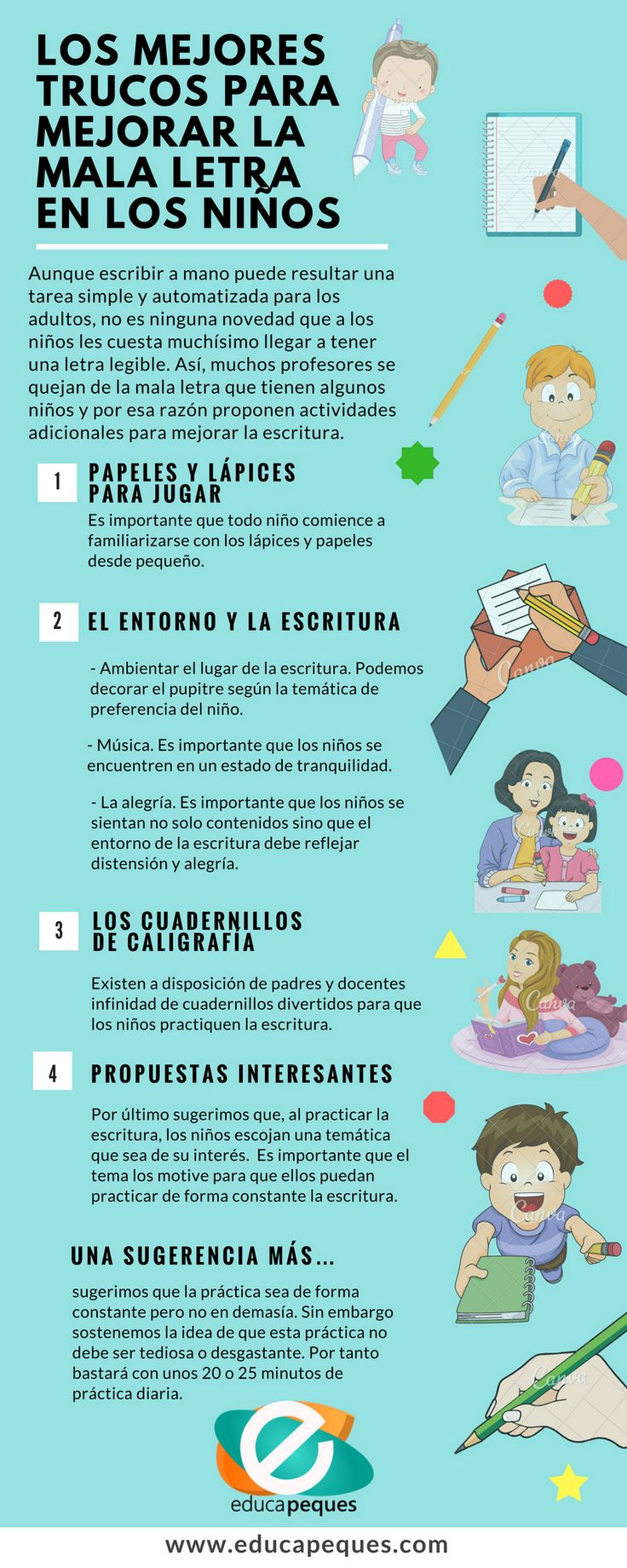Infografia: Los mejores trucos para mejorar la mala letra de los niños
