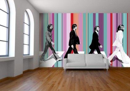 Beatle's striped wallpaper by Watts London