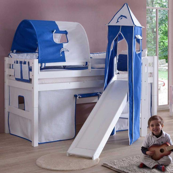 Kinderhochbett mit Rutsche Weiß-Blau Jetzt bestellen unter: https://moebel.ladendirekt.de/kinderzimmer/betten/hochbetten/?uid=0cc445e6-8e0d-502d-a85f-0798da4db9aa&utm_source=pinterest&utm_medium=pin&utm_campaign=boards #kinderzimmer #kinderhochbett #jugendhochbett #kinderbett #kind #hochbetten #kinderbettchen #hochbett #betten #hochbettgestell