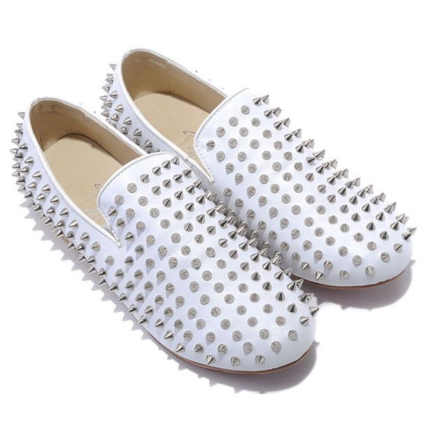 Christian Louboutin Rollerboy Silver Spikes Loafers White on the lookout for limited offer,no taxes and free shipping.#shoes #womenstyle #heels #womenheels #womenshoes  #fashionheels #redheels #louboutin #louboutinheels #christanlouboutinshoes #louboutinworld