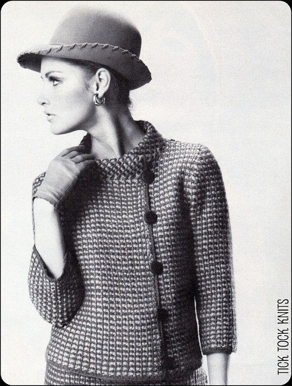 No.164 PDF Vintage Crochet Pattern Women's Afghan Stitch, Plaid Asymmetrical Jacket & Skirt - Retro Crochet Pattern - Instant Download