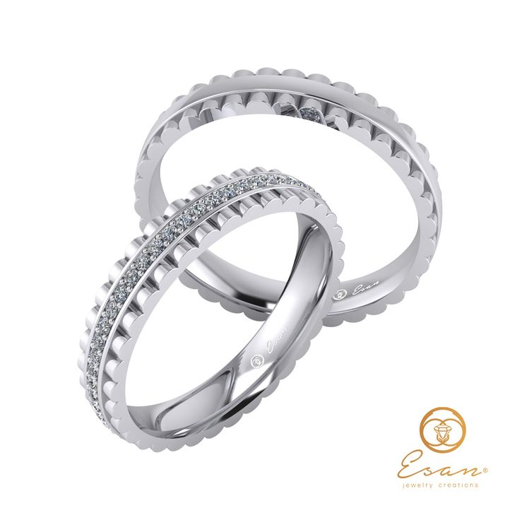 Verighete din aur alb cu diamante ESV15