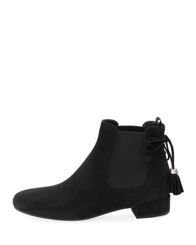 Suede Tassel-Tie Flat Chelsea Boot