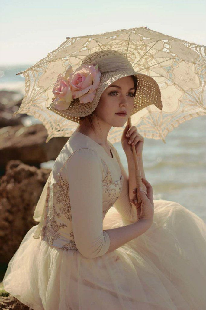 #Victorian inspired, floppy-brimmed straw #hat, with wide ribbon for hatband, and huge flowers.