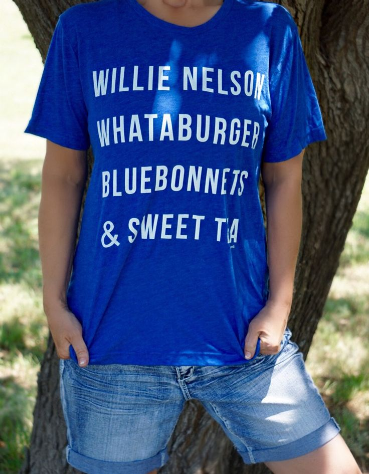 Willie Nelson, Whataburger, Bluebonnets, & Sweet Tee - Texas - Royal Triblend - Unisex Tee - Graphic Tee - T-Shirt - Women's Tops - Southern by shoppixelandpearl on Etsy https://www.etsy.com/listing/448782758/willie-nelson-whataburger-bluebonnets