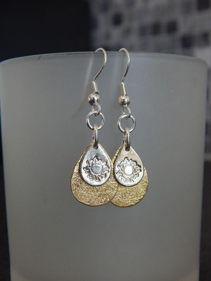 """Boucles d'oreille """"Double"""" dorées/argentées motif SOLEIL : Boucles d'oreille par bijou-lie"""