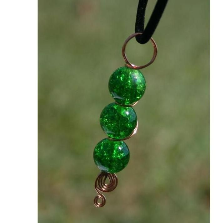 Peas in a Pod Glass Pendant with Necklace by DornanDesigns