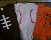 Sports onesie set! Use solid color onesies with cool colored ribbon or fabric!