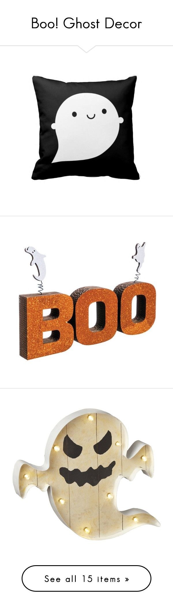 """""""Boo! Ghost Decor"""" by polyvore-editorial ❤ liked on Polyvore featuring ghostdecor, home, home decor, holiday decorations, haunted, orange, halloween home decor, orange home decor, spring home decor and white"""