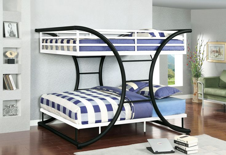 """Full/Full Bunk Bed Lexis Collection Cm-Bk1036BW for $576 Strikingly unique, this bunk bed is as beautiful as it is functional. The upper bed has safety rails, and the horizontal bars in between two curved metal posts also act as an access ladder to  the top bunk. Full Metal Construction X-shape Ladder Metal Upper Safety Rails Available in 2 Colors Dimensions: Full/Full Bunk Bed In Black & White Finish[CM-BK1036BW] 82""""L X 60 3/4""""W X 65""""H"""