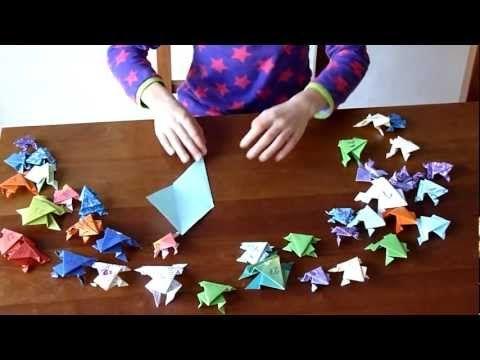 Springende kikker vouwen van papier