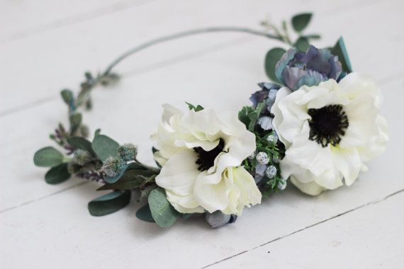 Cool Toned Anemone Floral Crown by missstevimarie on Etsy