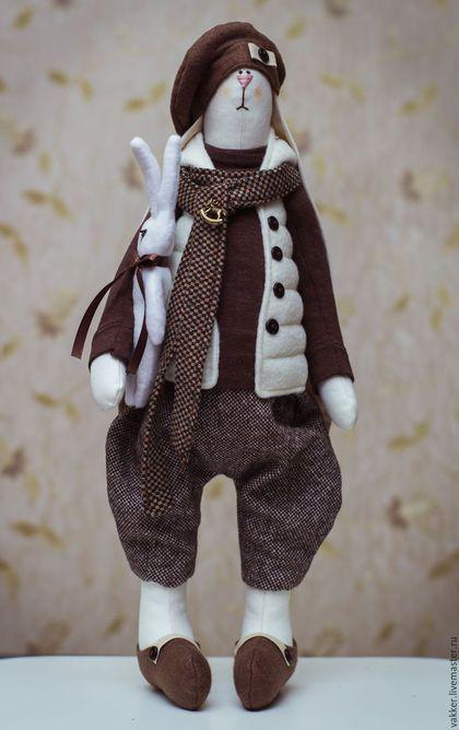 Куклы Тильды ручной работы. Ярмарка Мастеров - ручная работа. Купить Текстильный заяц. Handmade. Коричневый, тильда заяц, хлопок