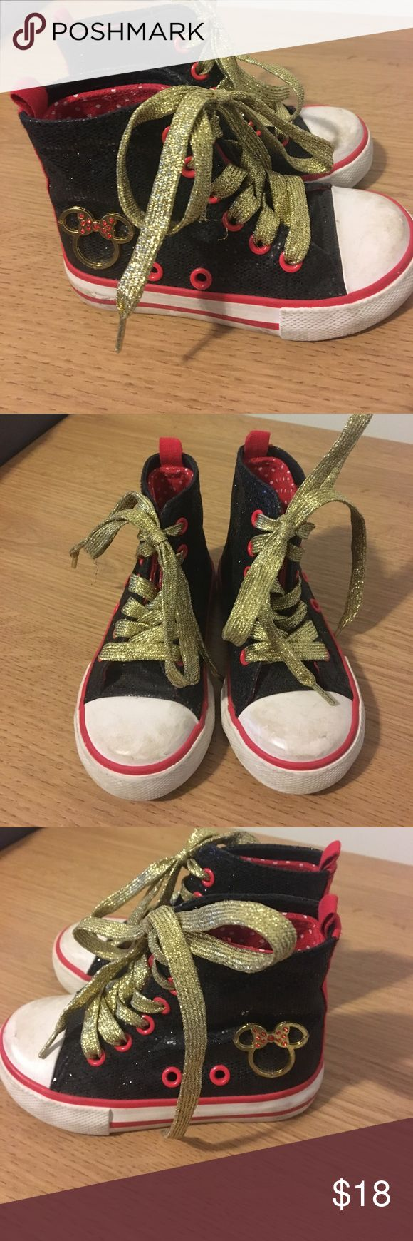 Disney Minnie Mouse size 7 girl's tennis shoes Really cute black, white, red, and gold Minnie Mouse tennis shoes by Disney. Gold laces, gold Minnie Mouse on the side. Adorable! Come from a smoke-free home. Disney Shoes Sneakers
