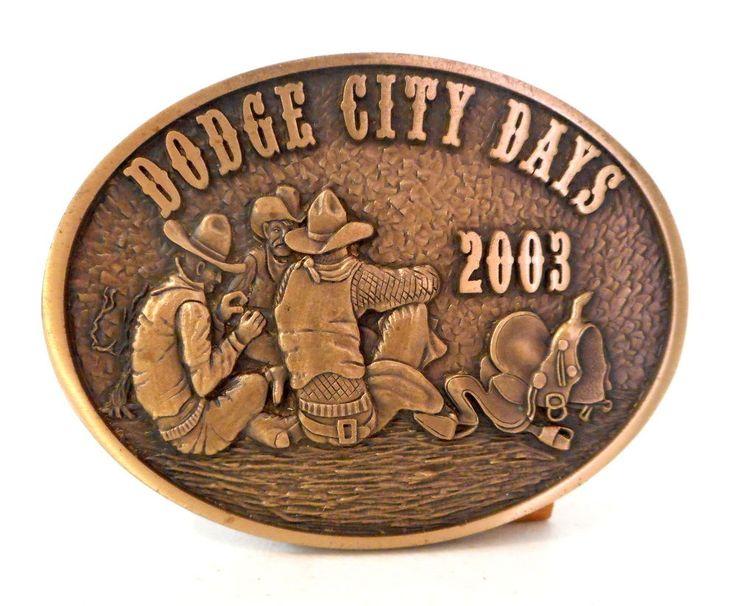 Dodge City Days Belt Buckle 2003 Cowboys Saddle Rodeo Brass Western Limited Ed
