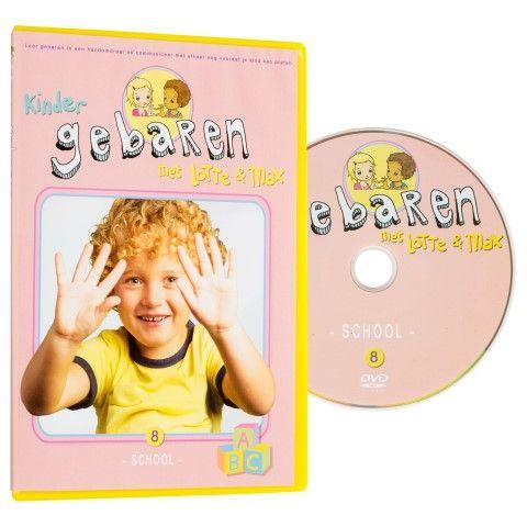 Lotte en Max dvd 'school'. Gaat je kind bijna naar school, dan is deze dvd perfect om alle bijbehorende gebaren te leren; de letters, de dagen van de week, kleuren, vormen,...