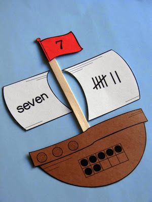 Number puzzles for Pilgrim and Pirate units! Make this using Velcro, Velcro the pieces that make the ship (or other shape).
