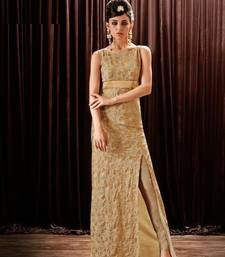 Buy Cream embroidered chiffon semi stitchedparty-wear-gowns party-wear-gown online
