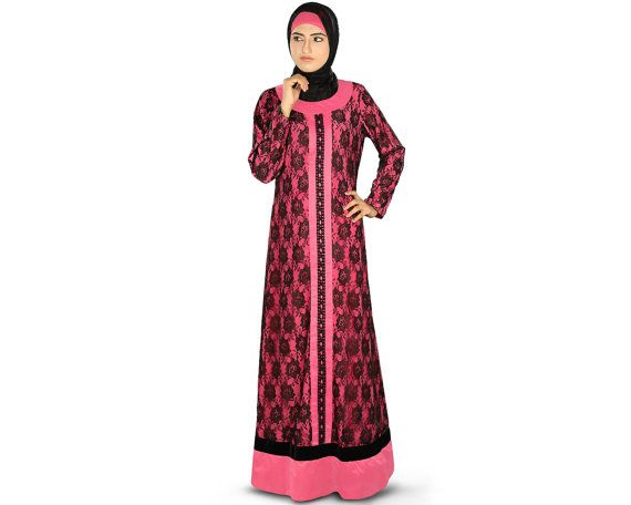 MyBatua Stylish Pink Abaya with Black Flower Net Layer by MyBatua, $80.20