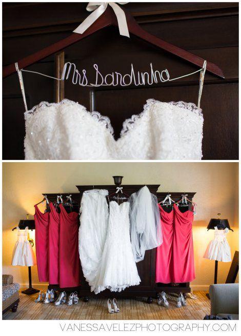 The bride and bridesmaids dresses displayed as you prepare for your big day. Destination Wedding | El Conquistador Resort & Las Casitas Village | Puerto Rico | ElConResort.com Vanessa Velez Photography