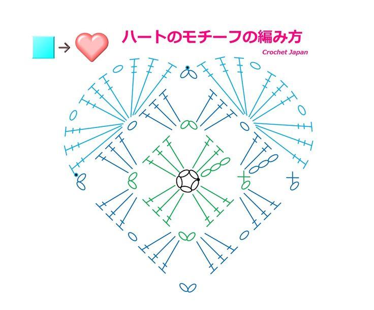 四角からの、ハートのモチーフの編み方【かぎ針編み】How to Crochet heart motif  https://youtu.be/JHQ3dBdSB04 この形のモチーフを、以前にも、動画で作成しましたが、今回は、編み図を作ってから、動画を作り直しました。 字幕と編み図で解説しています。 四角いグラニースクエアからの、ハートの形のモチーフです。 くさり編み、細編み、長編み、長々編みで編みました。 ★編み図はこちらをご覧ください。