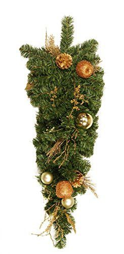 Felices Pascuas Collection 30 inch Pre-Decorated Pine Gold Apple Ball Berry and Pine Cone Artificial Christmas Teardrop Swag - Unlit