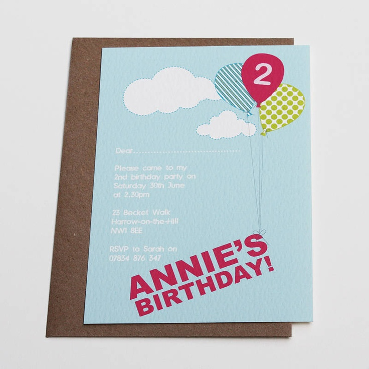 Personalised Balloon Invitations