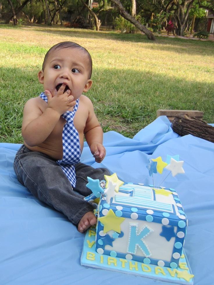 1st birthday cake. Boy.