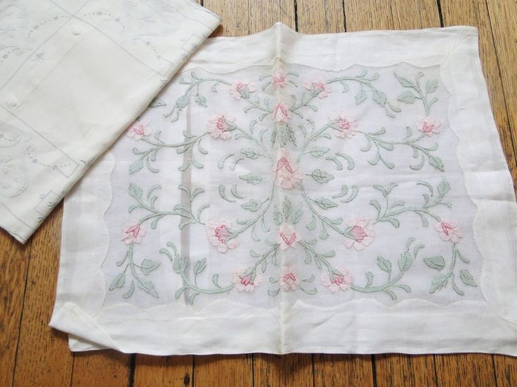 ESTATE LINENS- TWO FINE EMBROIDERED BABY PILLOW CASE COVERS