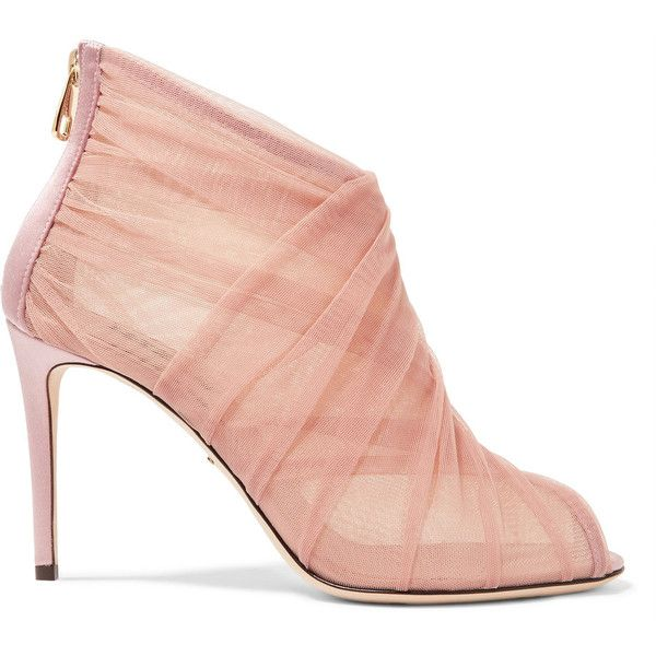 Dolce & Gabbana Keira mesh and tulle ankle boots (€860) ❤ liked on Polyvore featuring shoes, boots, ankle booties, pink, ankle boots, dolce and gabbana, short boots, fold over boots, pink ankle boots and bootie boots