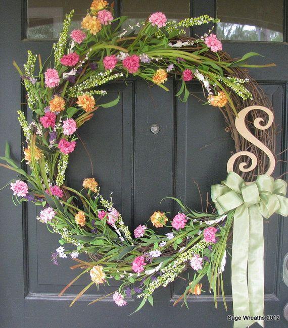 Flower Garden Spring/ Summer Wreath by SageWreaths on Etsy, $64.99
