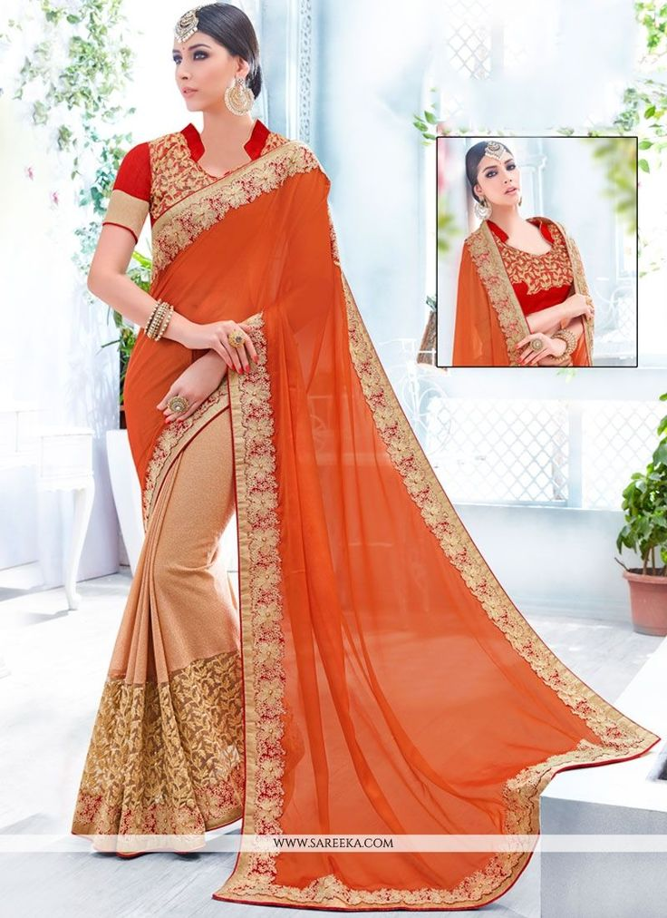 Be the sunshine of everyone's eyes dressed with this stunning beige and orange faux chiffon and net half n half designer saree. The ethnic embroidered and patch border work within the dress adds a s...
