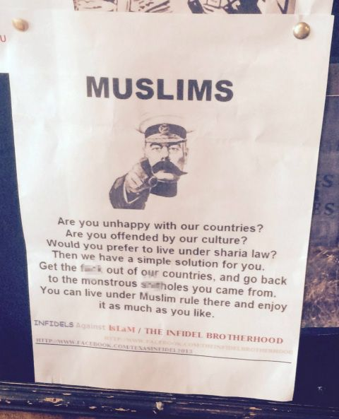 Racist poster found in a Wetherspoon's telling Muslims 'get the f*** out of our countries'