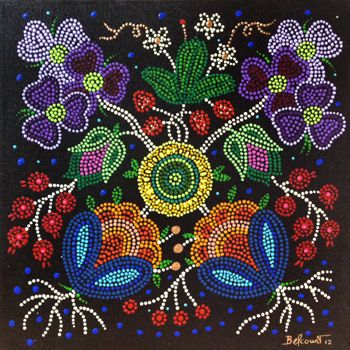 Christi Belcourt :: Based on Tradition, Inspired by Nature; Acrylic on Canvas but looks like Beading