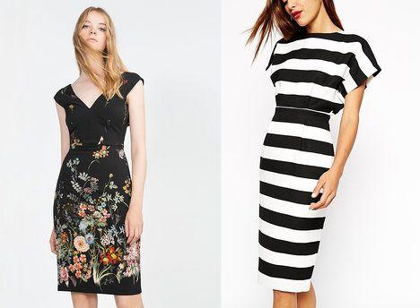 Zjemnit pouzdrové šaty může například květinová aplikace, šmrnc jim zase dodají pruhy. Na foto (zleva): Zara 1299 Kč, ASOS 1782 Kč; archiv firem