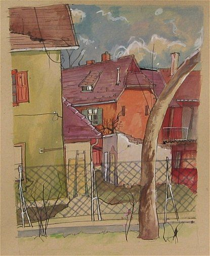Suburb scene - mixed media on paper