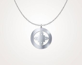 Beautiful Sterling Silver 'Intelligence' Adinkra Symbol Necklace – Spiritual Yoga Necklace – Traditional African Tribal Jewelry Design