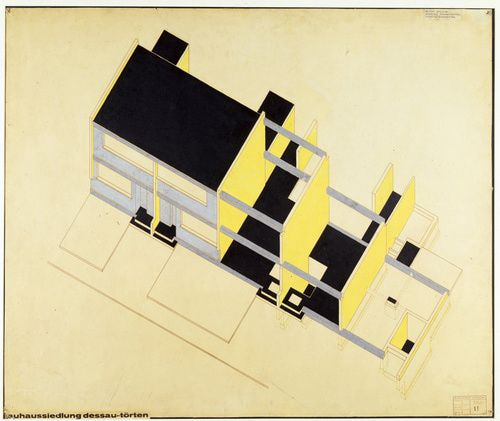 Walter Gropius (American, b. Germany, 1883-1969). Isometric construction scheme, 1926-28. Ink, gouache, and cut-and-pasted element, on photomechanical print on paper, mounted on board. 26 7/8 x 32 1/16 in. (68.3 x 81.4 cm).