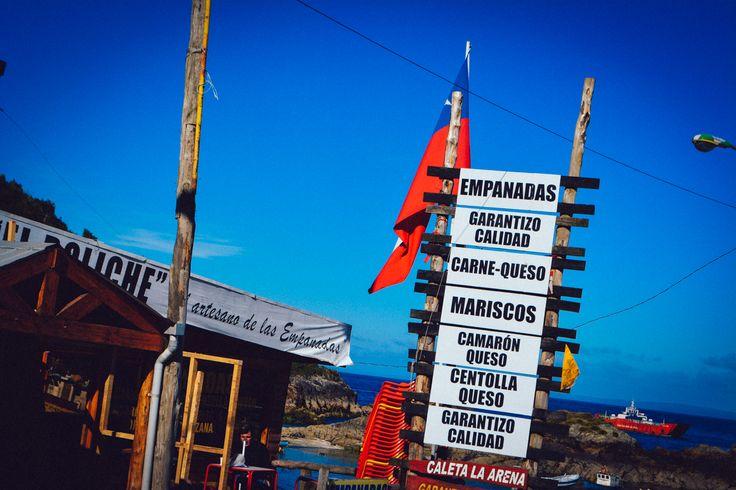 Empanadas shop in Caleta La Arena, Chile. http://www.raices.co.uk
