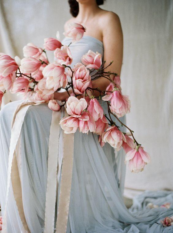 Blushing pink magnolia wedding florals via Lauren Balingit / http://www.deerpearlflowers.com/cascading-wedding-bouquets/