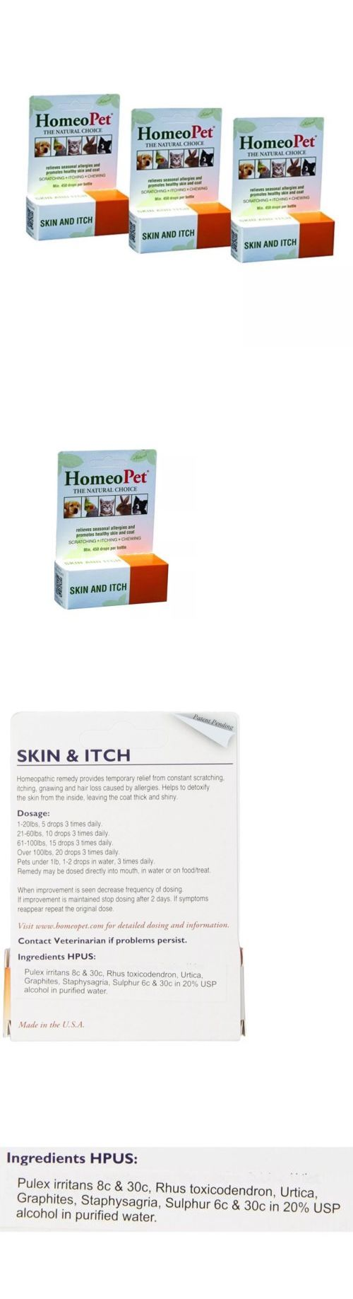 Skin and Coat Care 134791: Homeopet Skin And Itch Relief Homeopathic Safe Natural Dog Cat Bird 15 Ml 3 Pack -> BUY IT NOW ONLY: $30 on eBay!
