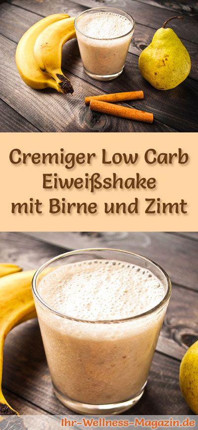 Eiweißshake mit Birne selber machen - ein gesundes Low-Carb-Diät-Rezept für Frühstücks-Smoothies und Proteinshakes zum Abnehmen - ohne Zusatz von Zucker, kalorienarm, gesund ...