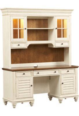 #HavertysRefresh Home Offices, Southport Credenza/Hutch   Distressed White,  Home Offices |