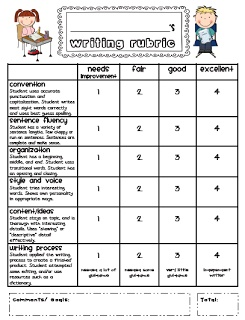 Sarahs First Grade Snippets: Writing Rubric Freebie for the end of the year