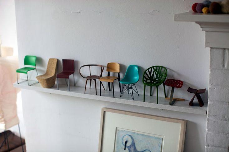 Little chairs on a shelf
